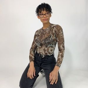 Karen Kane Long Sleeve Micro Mesh Snakeprint Top